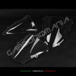 Double rounded transparent plexiglass windscreen for racing fairing