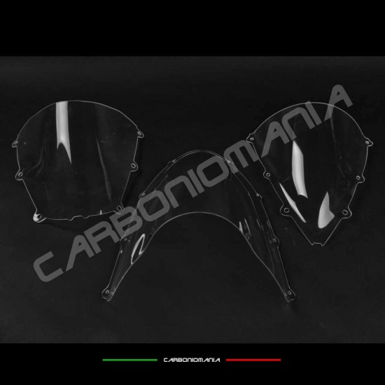 Double rounded transparent plexiglass windscreen for racing fairing image